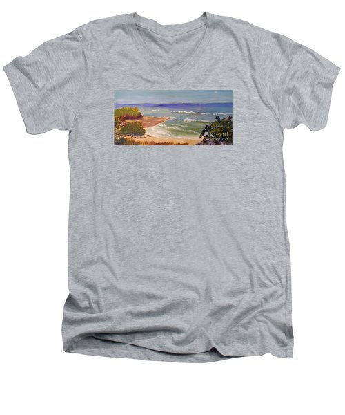 Men's V-Neck T-Shirt featuring the painting Wombarra Beach by Pamela  Meredith