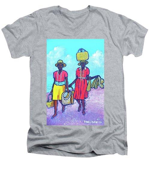 Women On Beach At Grenada Men's V-Neck T-Shirt
