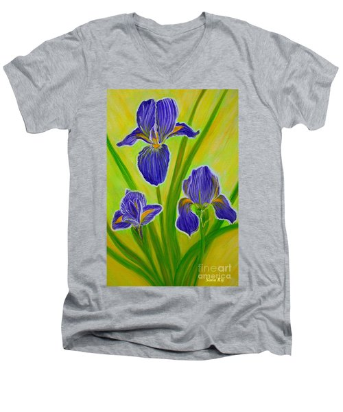 Wonderful Iris Flowers 3 Men's V-Neck T-Shirt