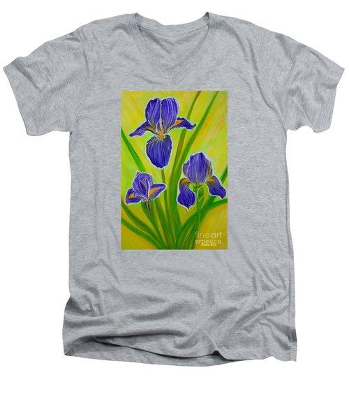 Wonderful Iris Flowers 3 Men's V-Neck T-Shirt by Oksana Semenchenko