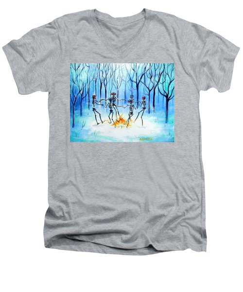 Men's V-Neck T-Shirt featuring the painting Wonderland Ring by Heather Calderon