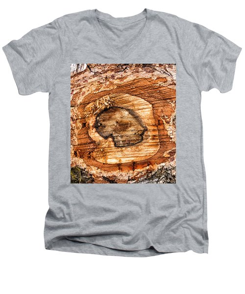 Wood Detail Men's V-Neck T-Shirt by Matthias Hauser