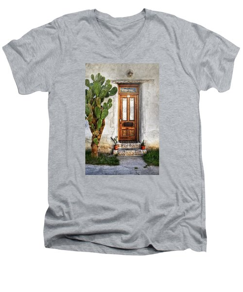 Men's V-Neck T-Shirt featuring the photograph Wood Door In Tuscon by Ken Smith