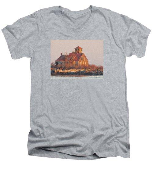 Wood Island Men's V-Neck T-Shirt by Marcia Lee Jones