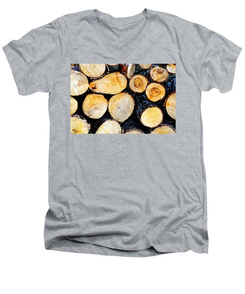 Wood Pile Men's V-Neck T-Shirt