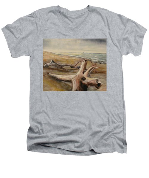 Wood Sand Water And Sky Men's V-Neck T-Shirt