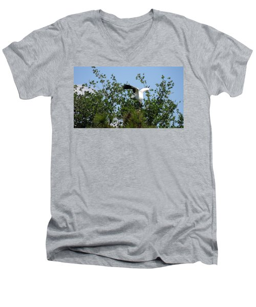 Men's V-Neck T-Shirt featuring the photograph Wood Stork by Ron Davidson
