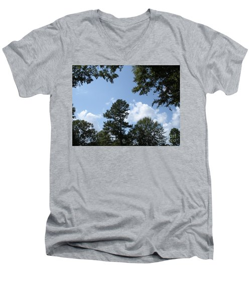 Wooded Forest  Men's V-Neck T-Shirt by Joseph Baril