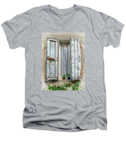 Wooden Shutters In Urbino Men's V-Neck T-Shirt