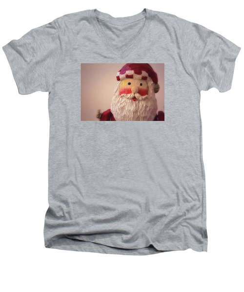 Men's V-Neck T-Shirt featuring the photograph Wooden Toy Santa by Nadalyn Larsen