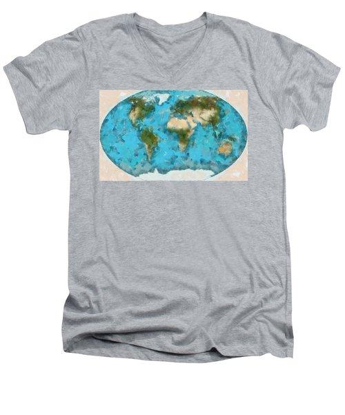 World Map Cartography Men's V-Neck T-Shirt by Georgi Dimitrov