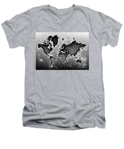 World Map Novo In Black And White Men's V-Neck T-Shirt by Eleven Corners