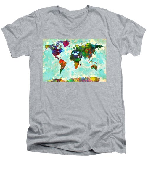 World Map Splatter Design Men's V-Neck T-Shirt