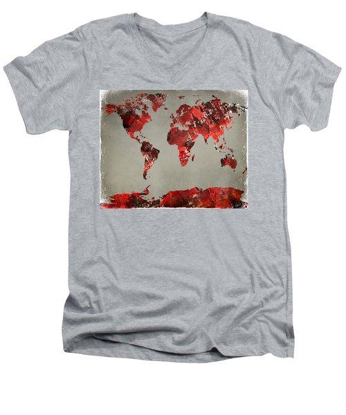 World Map - Watercolor Red-black-gray Men's V-Neck T-Shirt