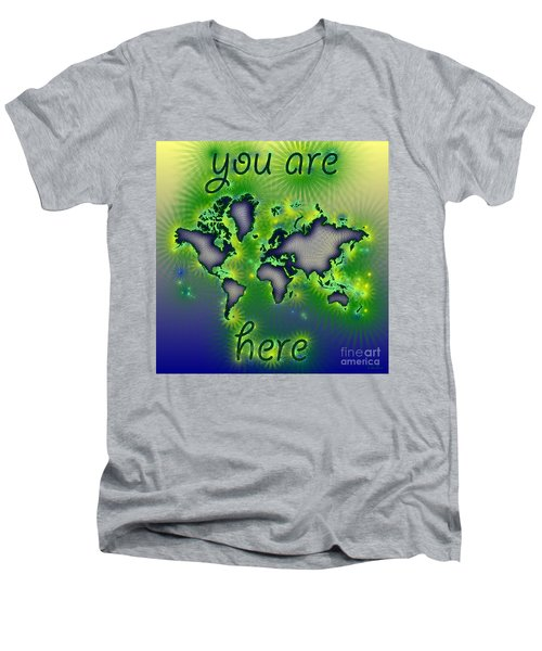 World Map You Are Here Amuza In Blue Yellow And Green Men's V-Neck T-Shirt by Eleven Corners