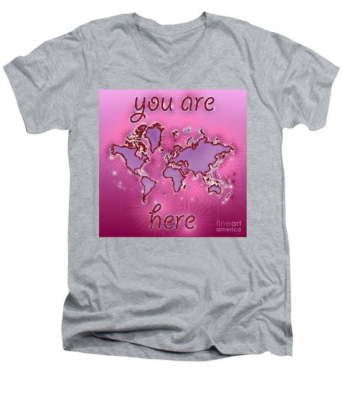 World Map You Are Here Amuza In Purple And Pink Men's V-Neck T-Shirt by Eleven Corners