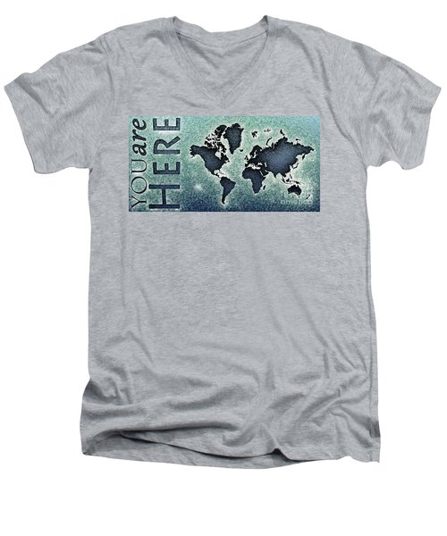 World Map You Are Here Novo In Black And Blue Men's V-Neck T-Shirt by Eleven Corners