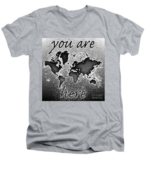 World Map You Are Here Novo In Black And White Men's V-Neck T-Shirt by Eleven Corners