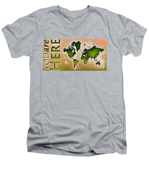 World Map You Are Here Novo In Green And Orange Men's V-Neck T-Shirt by Eleven Corners