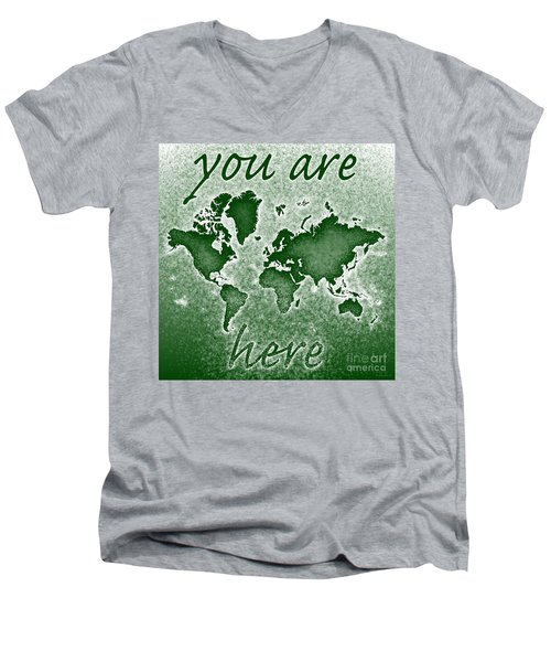 World Map You Are Here Novo In Green Men's V-Neck T-Shirt by Eleven Corners