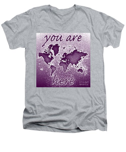 World Map You Are Here Novo In Purple Men's V-Neck T-Shirt by Eleven Corners