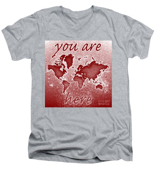 World Map You Are Here Novo In Red Men's V-Neck T-Shirt by Eleven Corners