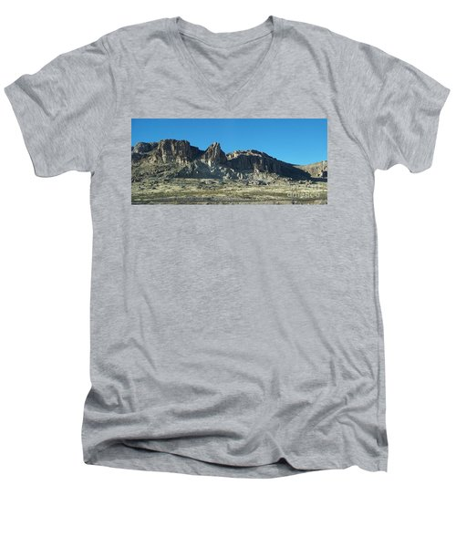 Men's V-Neck T-Shirt featuring the photograph Western Landscape by Eunice Miller