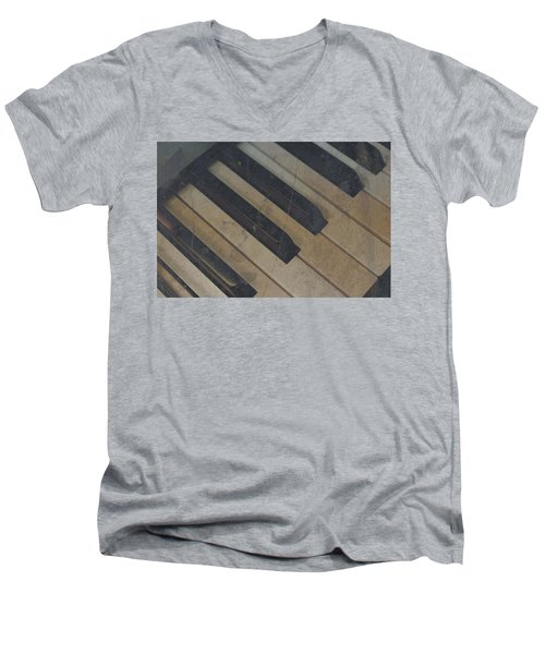 Men's V-Neck T-Shirt featuring the photograph Worn Out Keys by Photographic Arts And Design Studio