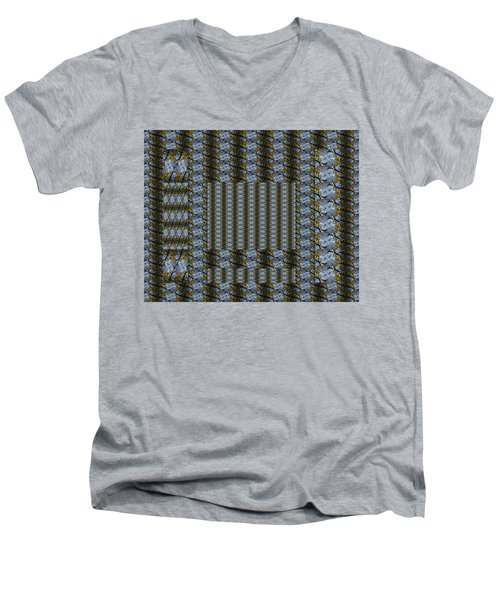 Woven Blue And Gold Mosaic Men's V-Neck T-Shirt