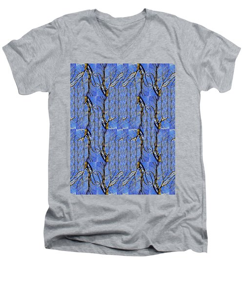 Woven Tree In Blue And Gold Men's V-Neck T-Shirt