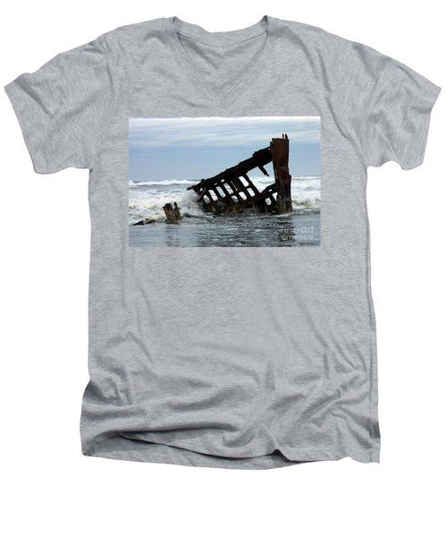 Men's V-Neck T-Shirt featuring the photograph Wreck Of The Peter Iredale by Chalet Roome-Rigdon