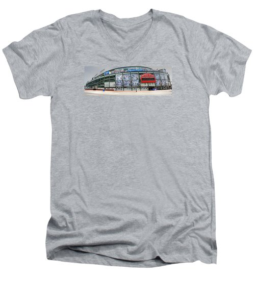 Wrigley Field On Clark Men's V-Neck T-Shirt by David Bearden