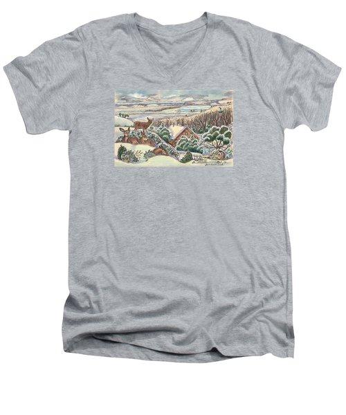 Wyoming Christmas Men's V-Neck T-Shirt by Dawn Senior-Trask