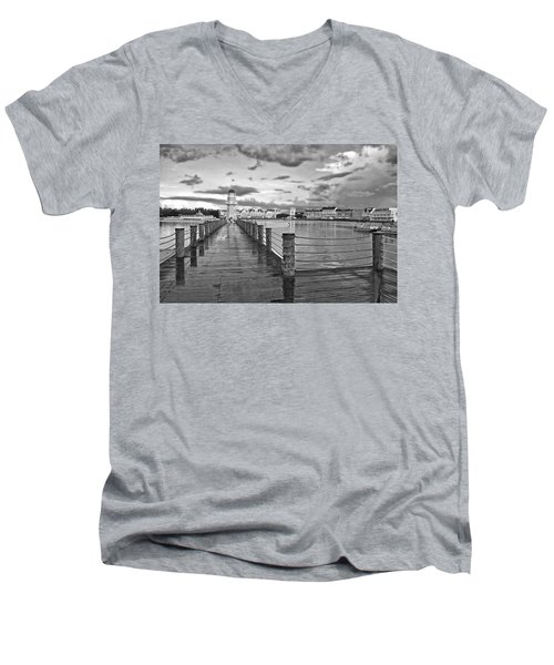 Yacht And Beach Lighthouse In Black And White Walt Disney World Men's V-Neck T-Shirt by Thomas Woolworth