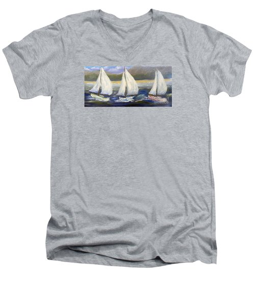 Yachts Sailing Off The Coast Men's V-Neck T-Shirt by Pamela  Meredith