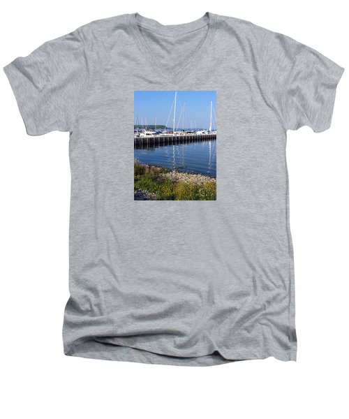 Yachtworks Marina Sister Bay Men's V-Neck T-Shirt by David T Wilkinson