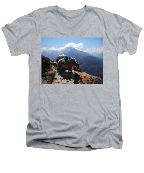 Yaks 1a Men's V-Neck T-Shirt by Pema Hou