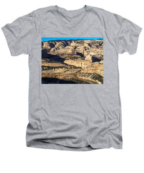 Yampa River Canyon In Dinosaur National Monument Men's V-Neck T-Shirt by Nadja Rider