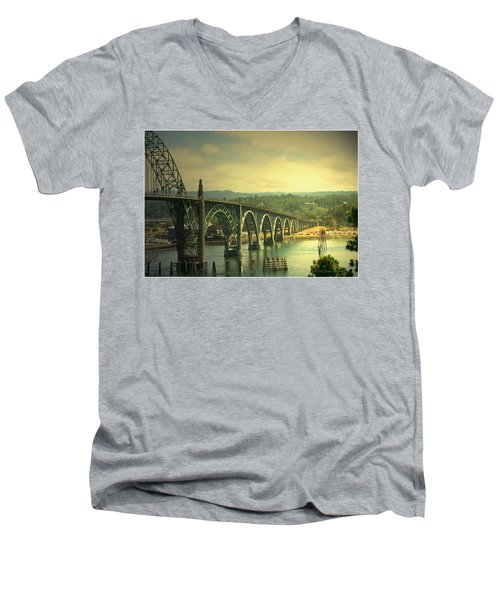 Yaquina Bay Bridge Or Men's V-Neck T-Shirt by Joyce Dickens