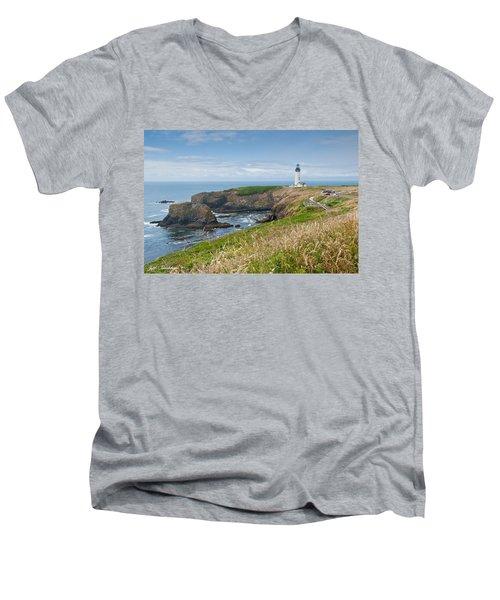 Yaquina Head Lighthouse Men's V-Neck T-Shirt by Jeff Goulden