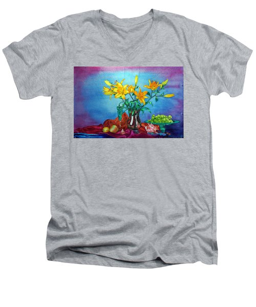 Yellow Lily In A Vase Men's V-Neck T-Shirt