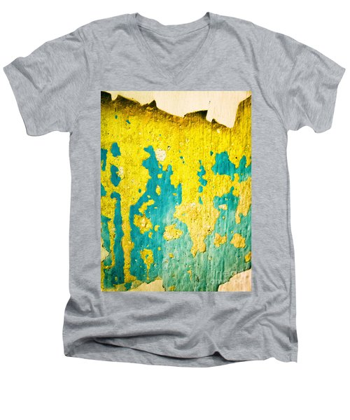Men's V-Neck T-Shirt featuring the photograph Yellow And Green Abstract Wall by Silvia Ganora