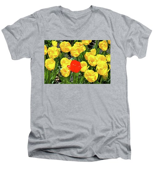 Yellow And One Red Tulip Men's V-Neck T-Shirt by Ed  Riche