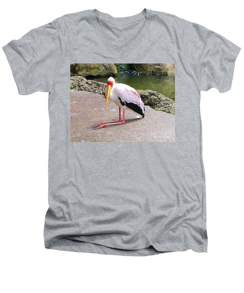 Men's V-Neck T-Shirt featuring the photograph Yellow-billed Heron by Sergey Lukashin