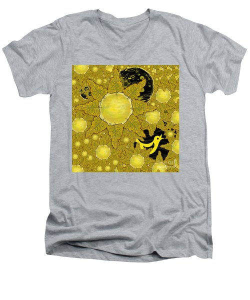 Yellow Bird Sings In The Sunflowers Men's V-Neck T-Shirt by Carol Jacobs