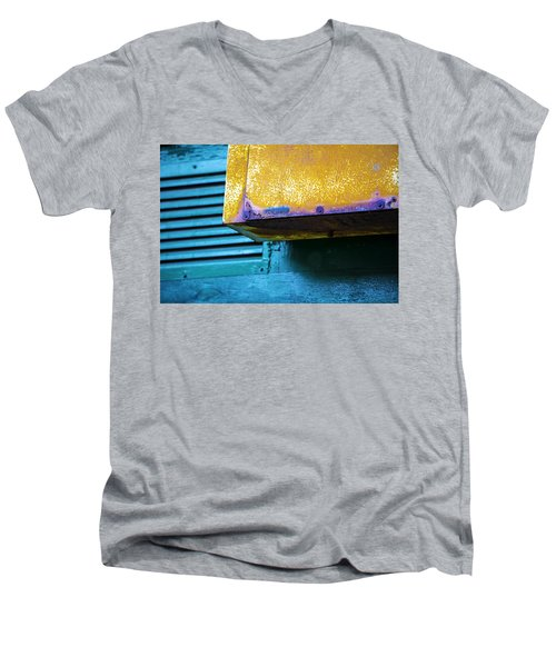 Yellow-blue Abstract Men's V-Neck T-Shirt