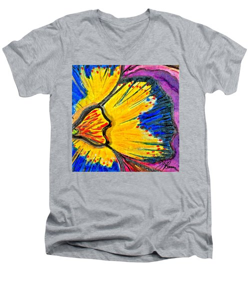 Men's V-Neck T-Shirt featuring the painting Yellow Blue Flower by Joan Reese