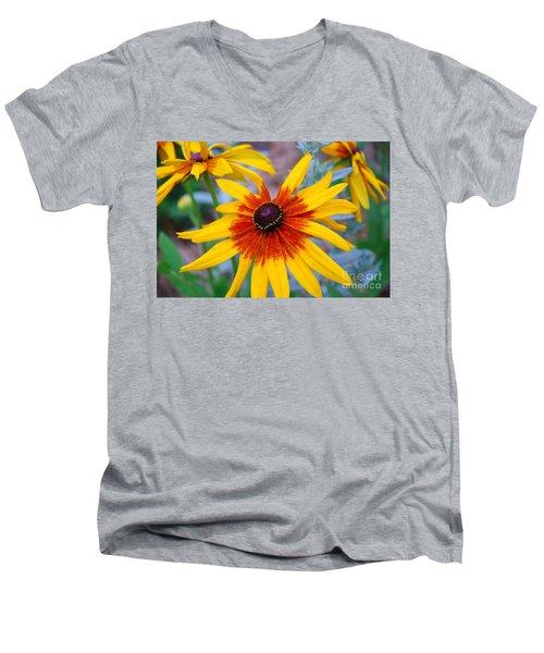 Men's V-Neck T-Shirt featuring the photograph Yellow Burst by Allen Beatty