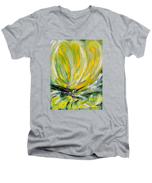 Men's V-Neck T-Shirt featuring the painting Yellow Butterfly by Jasna Dragun