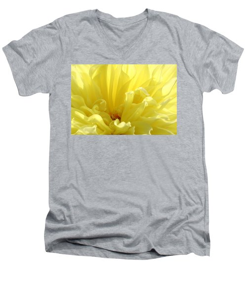 Yellow Dahlia Burst Men's V-Neck T-Shirt by Ben and Raisa Gertsberg